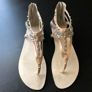 Nine West Shoes - Nine West Flat Sandals with Spikes and Jewels Sz 8